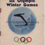 1932 Lake Placid programme olympique de la cérémonie d'ouverture, 04/02/1935 13,4 x 19 cm