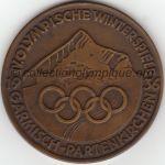 1936 Garmisch-Partenkirchen médaille olympique de participant recto, bronze - athlètes - 60 mm - 1660 ex. - designer Kunststickerei M. JÖRRES