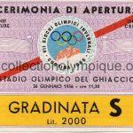 1956 Cortina d'Ampezzo billet olympique cérémonie d'ouverture 26/01/1956 12,7 x 8,4 cm
