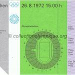 1972 Munich billet olympique cérémonie d'ouverture, 26/08/1972, 14,8 x 10,5 cm