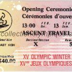1988 Calgary billet olympique cérémonie d'ouverture 13/02/1988, 15,3 x 6,9 cm