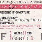 1992 Albertville billet olympique cérémonie d'ouverture 08/02/1992, 16 x 6,8 cm