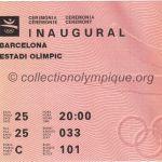 1992 Barcelone billet olympique cérémonie d'ouverture, 25/07/1992, 21 x 9,2 cm