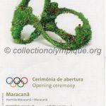 2016 Rio billet olympique cérémonie d'ouverture, 05/08/2016, 22 x 9,1 cm