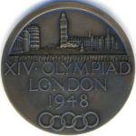 1948 Londres médaille olympique de participant recto, bronze - athlètes et membres CNO - 51 mm - 8678 ex. - designers Bertram MACKENNAL - John PINCHES