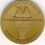 1984 Los Angeles médaille olympique de participant recto, bronze - athlètes et officiels - 60 mm - 15 900 ex. - designer Dugland STERMER