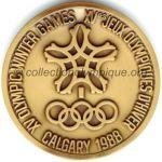 1988 Calgary médaille olympique de participant recto, bronze - athlètes et officiels - 64 mm - 10000 ex. - designer Cornelius Martens