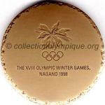1998 Nagano médaille olympique de participant recto, cuivre (90%) / zinc (10%) - athlètes, officiels et médias - 60 mm - 19000 ex.