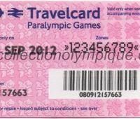 2012 Londres billet de transport paralympique