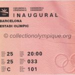 1992 Barcelona olympic ticket opening ceremony recto