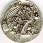 1980 Lake Placid médaille olympique participant recto, nickel / argent - athlètes, officiels et volontaires - 76 mm - 10000 ex. - designers Marcel Jovine / Neil Kennedy