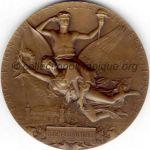 1900 Paris médaille olympique de participant rectobronze - participants exposition universelle64 mm - designer Jules-Clément CHAPLAIN
