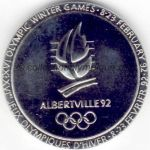 1992 Albertville olympic participant medal recto, chrome plated steel - athlets, officials and volunteers - 68 mm - 14500 ex. - designer Renee MAYOT