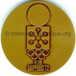 1972 Sapporo médaille olympique participant recto, bronze - athlètes et officiels - 60 mm - 10000 ex. - designer Shigeo Fukuda