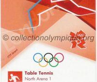 2012 Londres billet d'entrée olympique session tennis de table