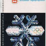 1964 Innsbruck programme olympique journalier, luge, combiné nordique, slalom géant dame