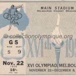 1956 Melbourne billet olympique cérémonie ouverture recto