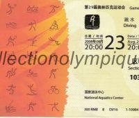 2008 Pékin billet d'entrée olympique session plongeon