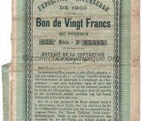 1900 Paris bon de 20 francs au porteur donnant droit à 20 billets pour l'exposition universelle n°035-05545 page 1