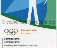 2016 Rio billet d'entrée olympique session tir à l'arc du 10 Août