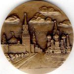 1980 Moscou médaille olympique participant recto, tombac - athlètes et officiels - 60 mm - 22 800 ex. - designer Angelina LEONOVA
