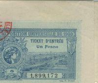 1900 Paris billet d'entrée à l'exposition universelle et aux Jeux Olympiques