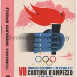 1956 Cortina d'Ampezzo programme olympique journalier n°3, patinage vitesse, ski de fond, bobsleigh, hockey 28/01/1956 12,2 x 17,1 cm