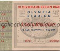 1936 Berlin billet olympique cérémonie de clôture