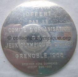 1968 Grenoble médaille COJO en argent, verso