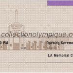 1984 Los Angeles billet olympique cérémonie ouverture recto