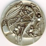 1980 Lake Placid olympic participant medal recto, nickel / silver - athlets, officials and volunteers - 76 mm - 10000 ex. - designers Marcel Jovine / Neil Kennedy