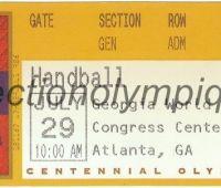 1996 Atlanta billet d'entrée olympique session handball du 29 Juillet