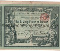 1900 Paris bon de 20 francs au porteur donnant droit à 20 billets pour l'exposition universelle n°035-05545 pages 4 et 5