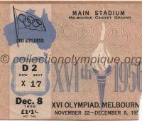 1956 Melbourne billet d'entrée olympique session cérémonie de clôture