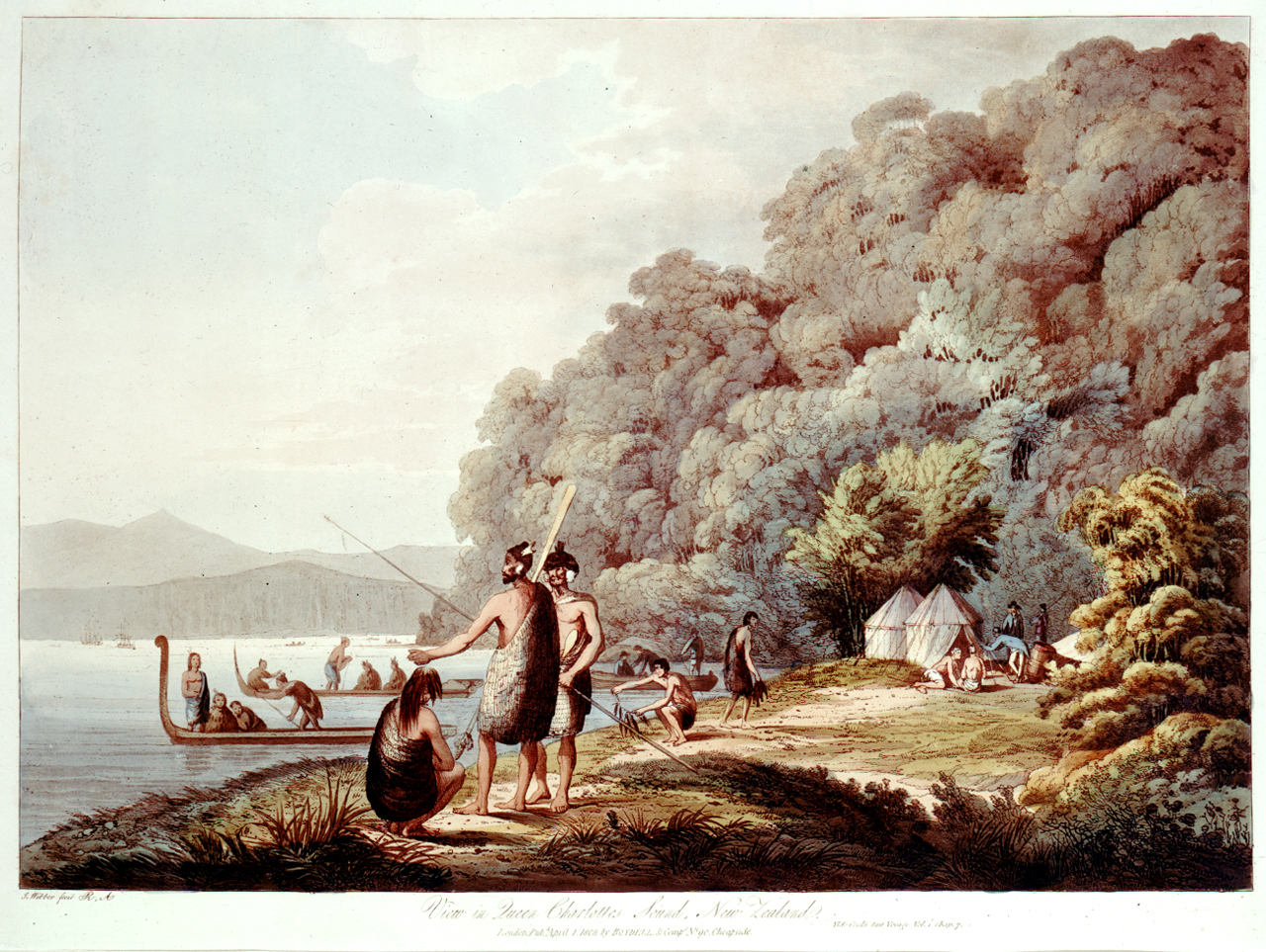 Views in the South Seas from the Drawings of the Late James Webber. View in Queen Charlottes Sound, New Zealand