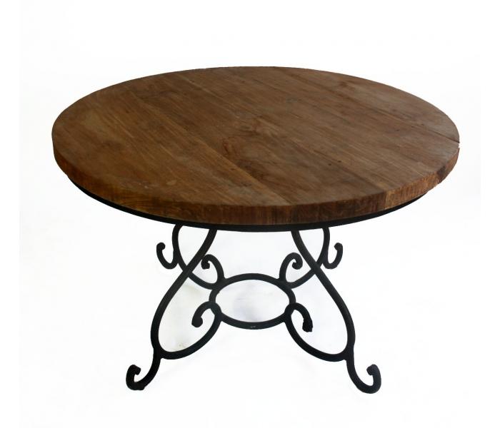 Mesa redonda con tablero de madera y pies de hierro