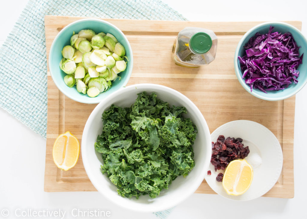 Easy Massaged Kale Salad with Brussels Sprouts and Red Cabbage