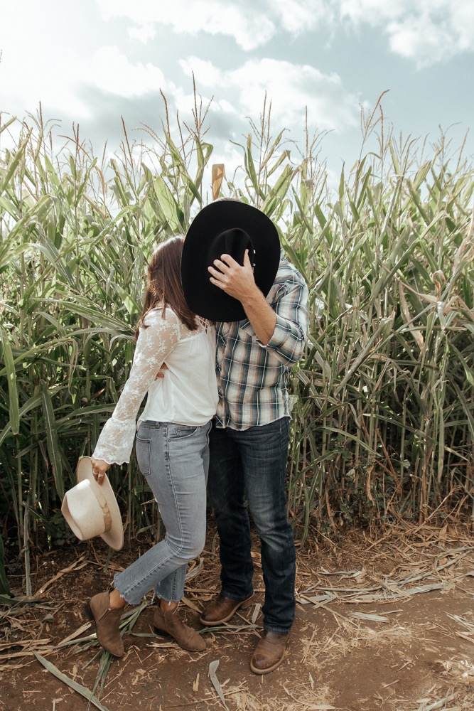 Cowboy Black Hat Corn Fields Couple Kissing