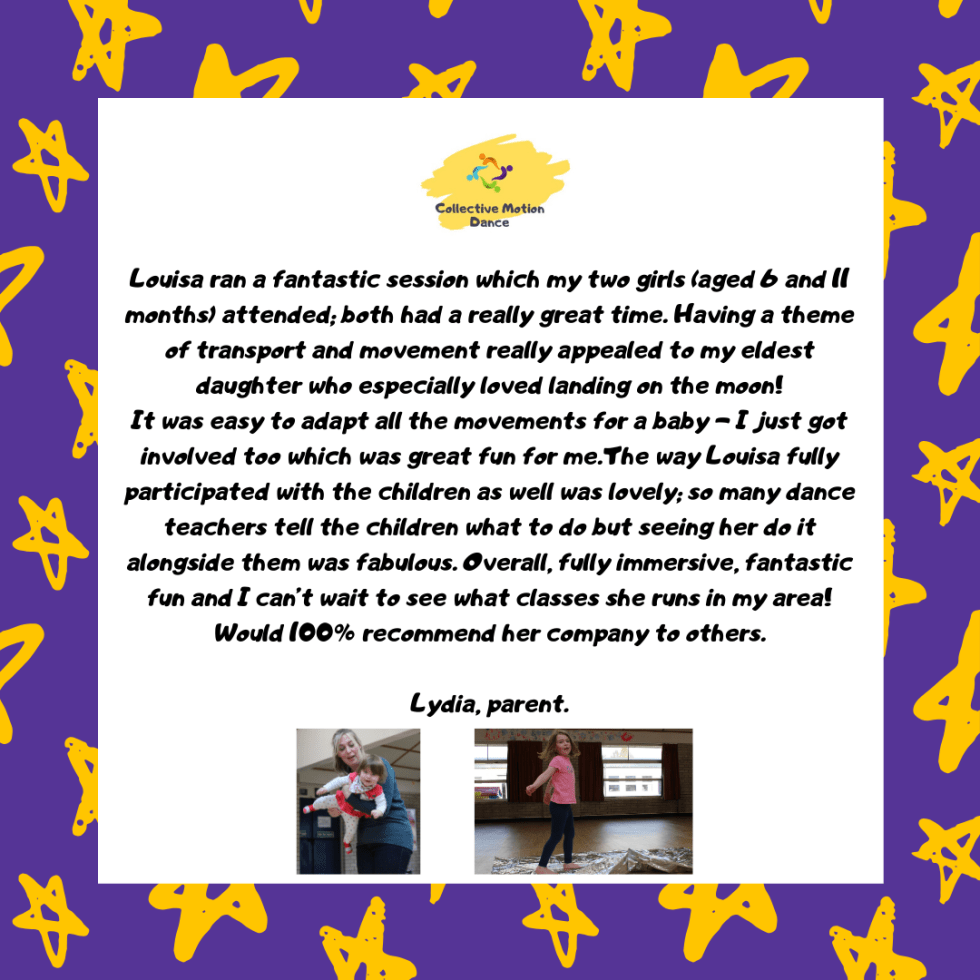 Toddler and Early Years Dance Class Basingstoke Parent Testimonial
