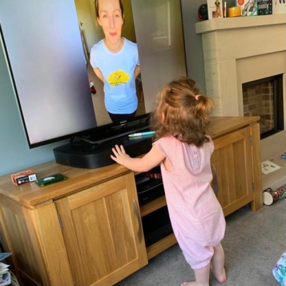 Toddler participating in online dance classes