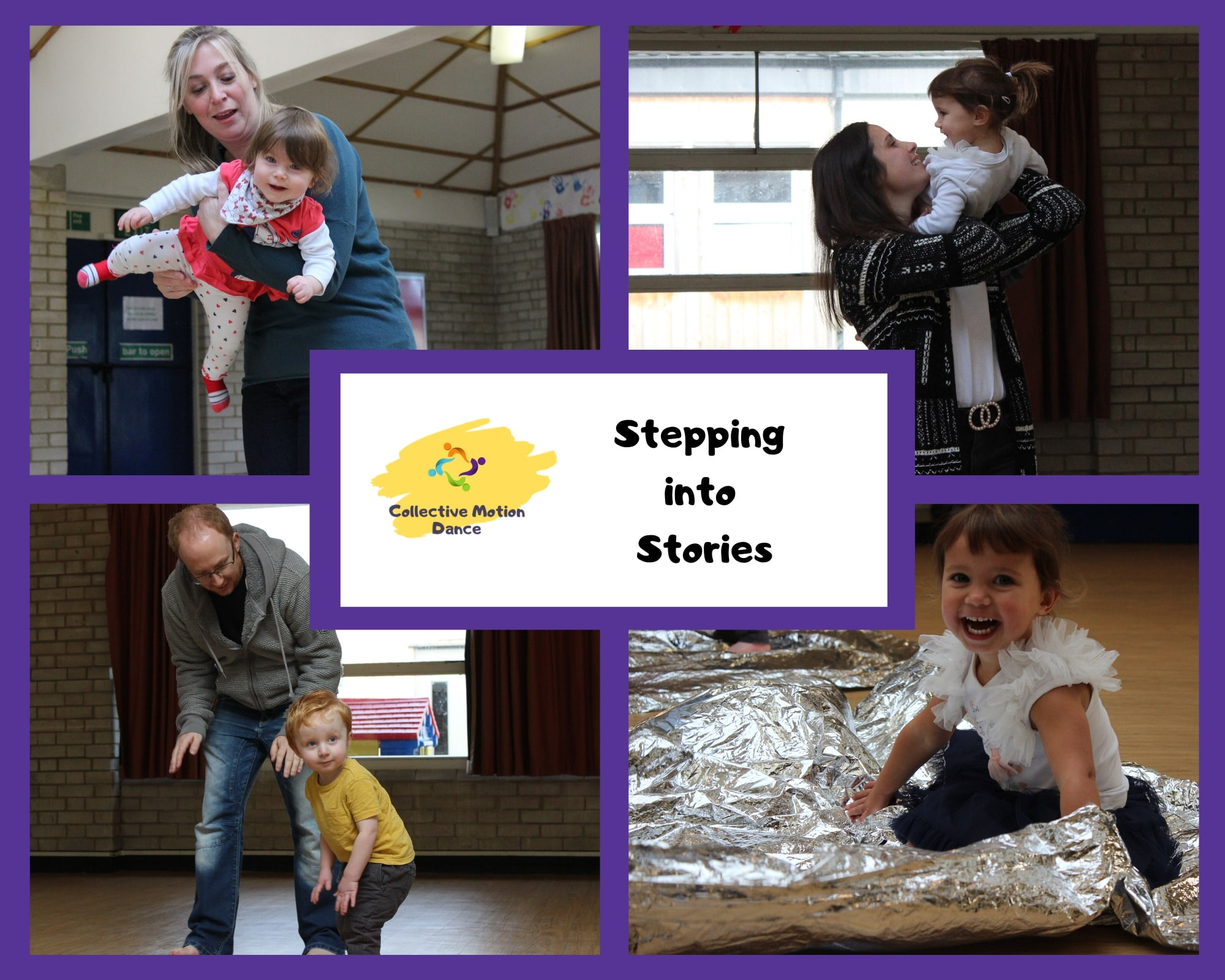 Stepping into Stories; dance and storytelling classes for toddlers, preschoolers and their parent/carer in Basingstoke. 4 photos of children dancing with their carers. Purple border.