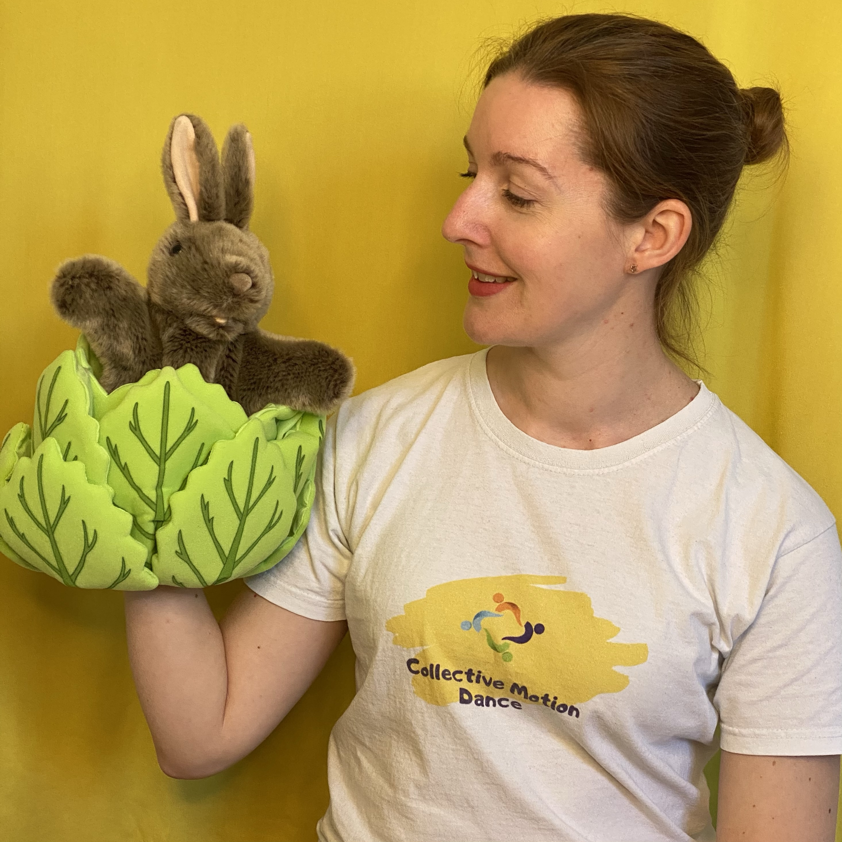 Rabbit puppet with a yellow background.