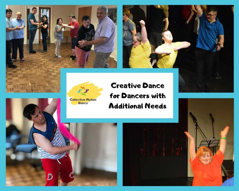 4 photos of adult dancers with additional needs
