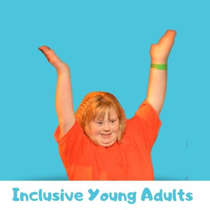 Teenager with Downs Syndrome dancing in a red t-shirt on a blue background. Text below reads: inclusive young adults
