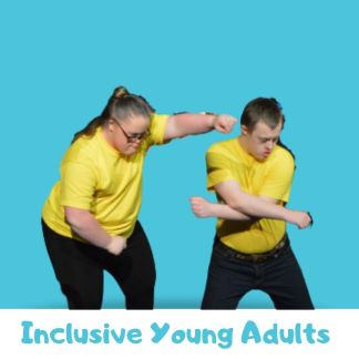 Male and female dancers with Downs Syndrome in yellow t-shirts on a blue background. Text below reads: inclusive young adults