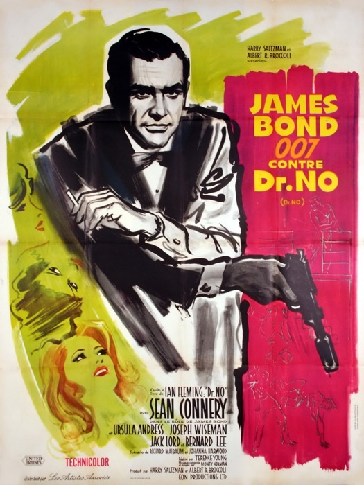 1962 james bond dr no movie poster red