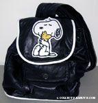 Snoopy hugging Woodstock black leather backpack