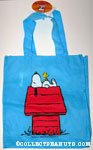 Snoopy on Doghouse Blue Reusable Tote Bag