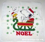 Snoopy & Woodstock Caroling in sleigh Washcloth