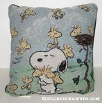 Snoopy hugging Woodstocks Tapestry Pillow